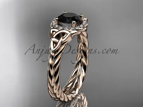 14kt rose gold black diamond rope engagement ring RPCT9380