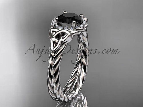 Platinum black diamond rope engagement ring RPCT9380