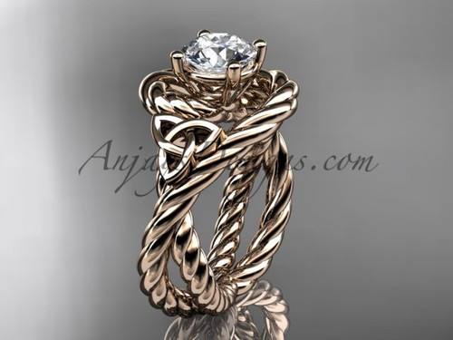 14k rose gold rope nautical engagement ring RPCT9320