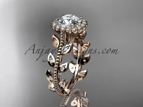 Stunning Engagement Rings Rose Gold Diamond Leaf Wedding Ring ADLR118