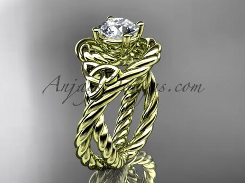 14k yellow gold rope moissanite engagement ring RPCT9320
