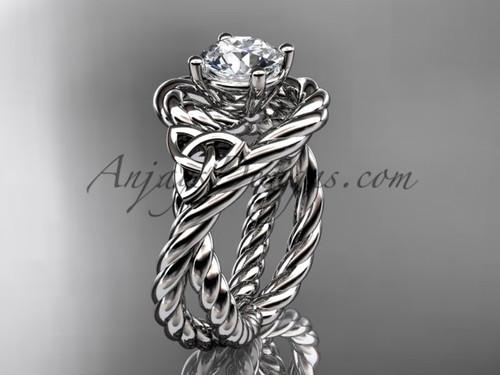 platinum rope moissanite engagement ring RPCT9320