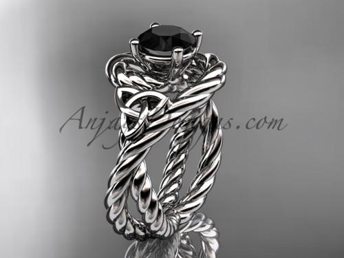 14k white gold rope black diamond engagement ring RPCT9320