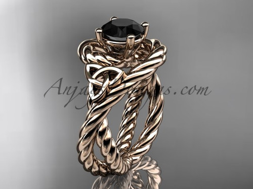 14k rose gold rope black diamond engagement ring RPCT9320