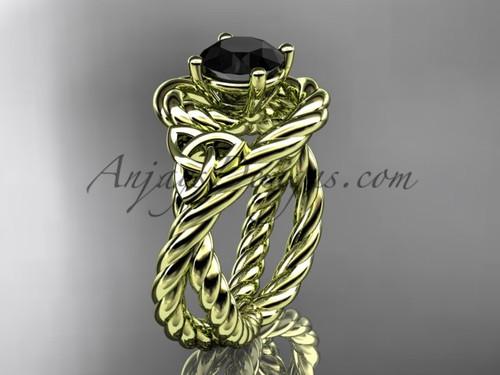 14k yellow gold rope black diamond engagement ring RPCT9320