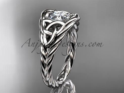 14k white gold rope moissanite bridal ring RPCT964