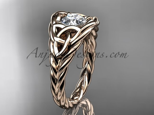 14k rose gold rope moissanite bridal ring RPCT964