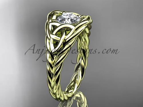 14k yellow gold rope moissanite bridal ring RPCT964