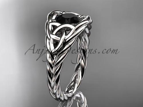 14k white gold rope black diamond anniversary ring RPCT964