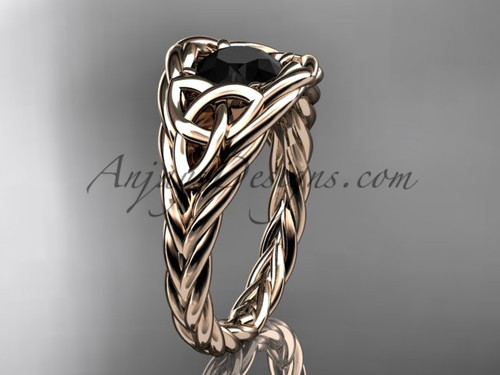 14k rose gold rope black diamond anniversary ring RPCT964