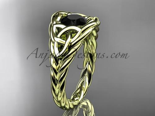 14k yellow gold rope black diamond anniversary ring RPCT964