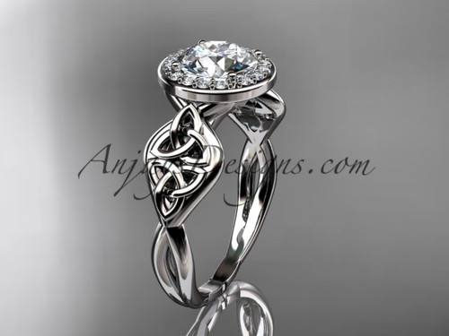 14kt white gold diamond celtic trinity knot wedding ring, engagement ring CT7219