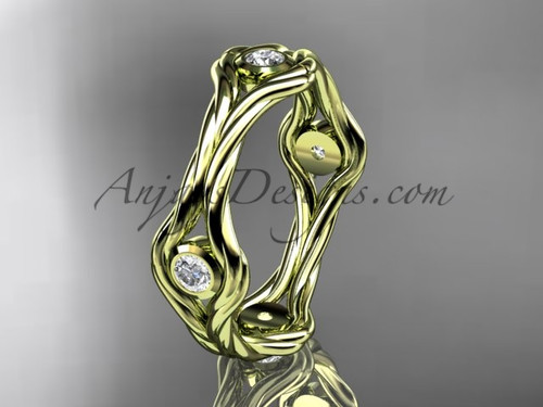 14k yellow gold twisted rope diamond wedding band RP8358B