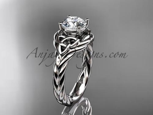 14k white gold moissanite rope engagement ring RPCT9125