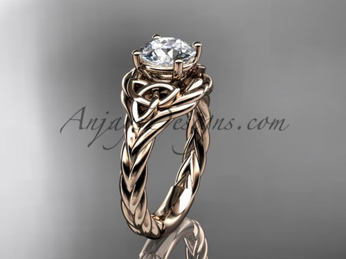 14k rose gold moissanite rope engagement ring RPCT9125