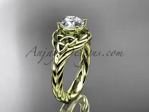 14k yellow gold moissanite rope engagement ring RPCT9125