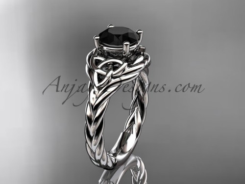 14k white gold black diamond rope engagement ring RPCT9125