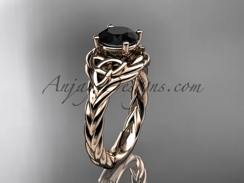 14k rose gold black diamond rope engagement ring RPCT9125