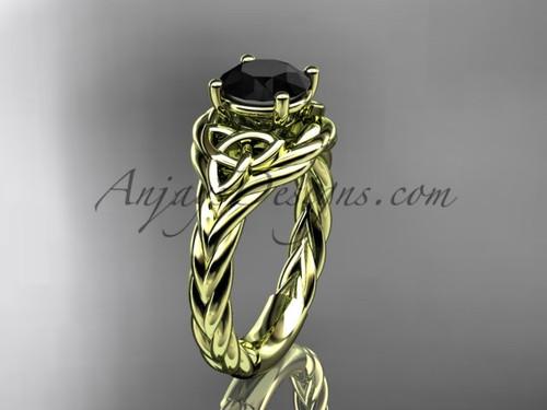 14k yellow gold black diamond rope engagement ring RPCT9125