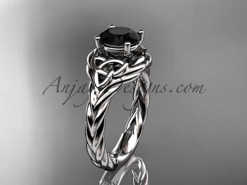 platinum black diamond rope engagement ring RPCT9125