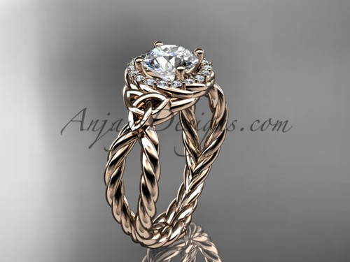 14k rose gold halo rope triquetra engagement ring RPCT9127