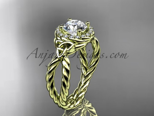 14k yellow gold rope triquetra engagement ring RPCT9127