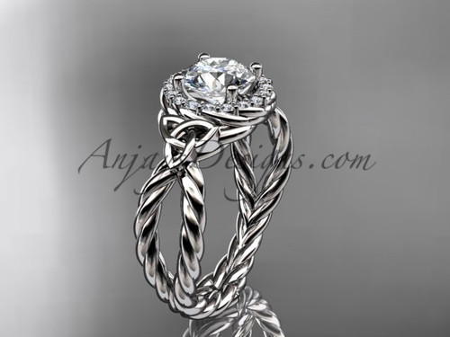 14k white gold rope moissanite engagement ring RPCT9127
