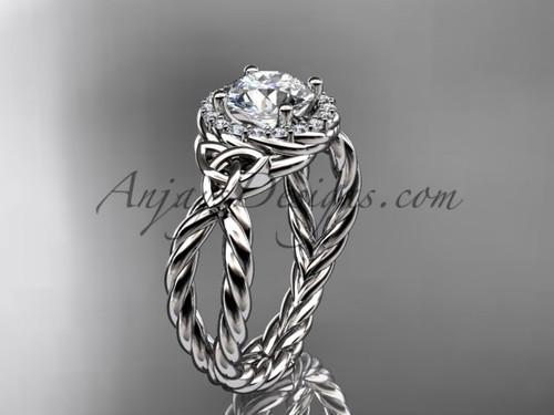 platinum halo rope moissanite engagement ring RPCT9127