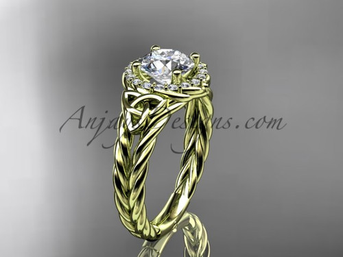 14k yellow gold halo rope triquetra engagement ring RPCT9131