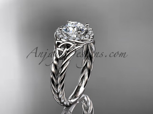 platinum halo rope triquetra engagement ring RPCT9131