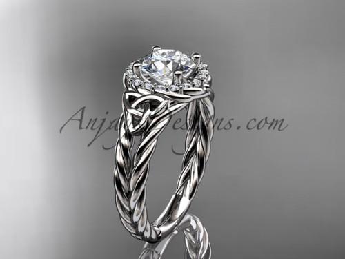 14k white gold halo rope moissanite engagement ring RPCT9131
