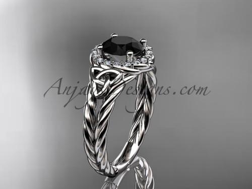 14k white gold halo rope black diamond wedding ring RPCT9131