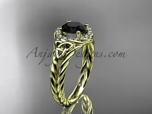 yellow gold halo rope black diamond wedding ring RPCT9131
