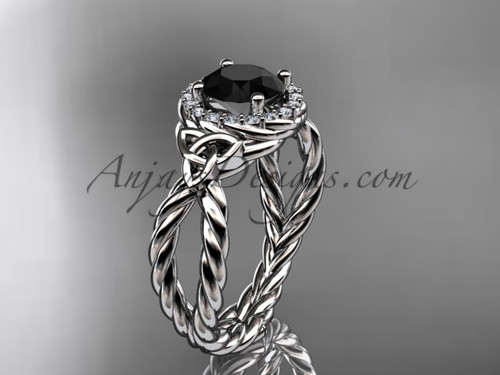 platinum rope black diamond engagement ring RPCT9127