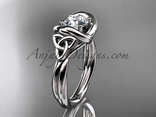 celtic moissanite engagement ring 14k white gold RPCT9146