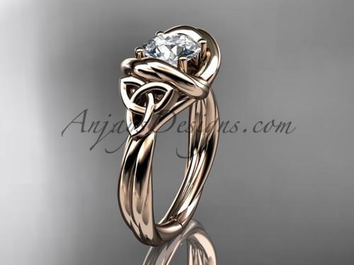 celtic moissanite engagement ring 14k rose gold RPCT9146
