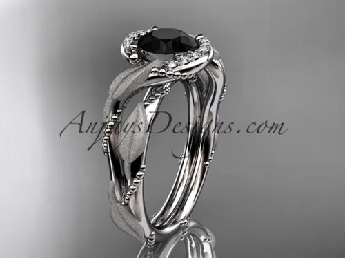 14kt white gold diamond leaf and vine wedding ring, engagement ring with Black Diamond center stone ADLR65