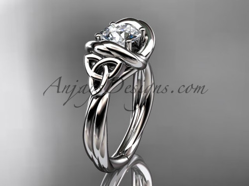 celtic moissanite engagement ring platinum RPCT9146
