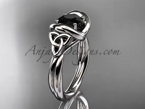 celtic black diamond engagement ring 14k white gold RPCT9146
