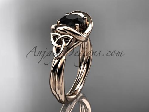 celtic black diamond engagement ring 14k rose gold RPCT9146
