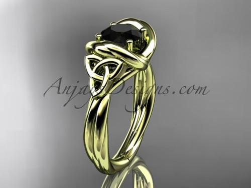 celtic black diamond engagement ring 14k yellow gold RPCT9146
