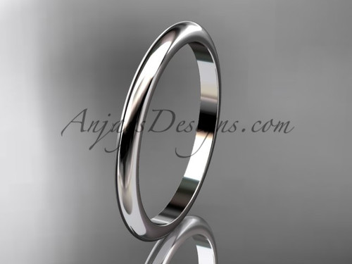 14k white gold traditional 2mm wide wedding band WB50102G