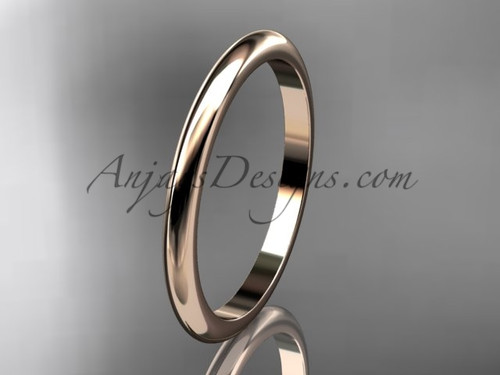 14k rose gold traditional 2mm wide wedding band WB50102G