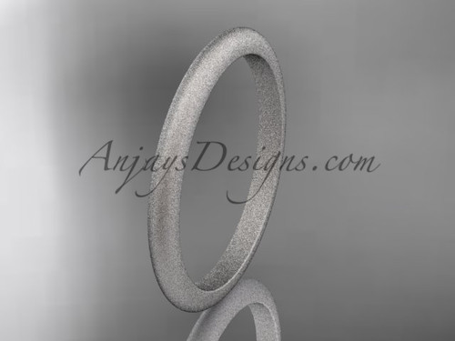14k white matte finish gold traditional 2mm wide wedding band WB50102G
