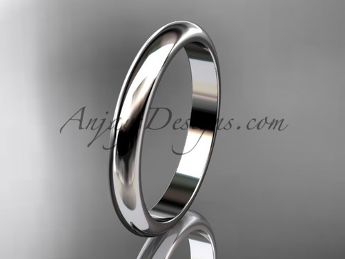 14k white gold traditional 3mm wide wedding band WB50103G