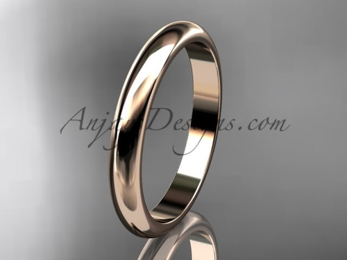 14k rose gold traditional 3mm wide wedding band WB50103G
