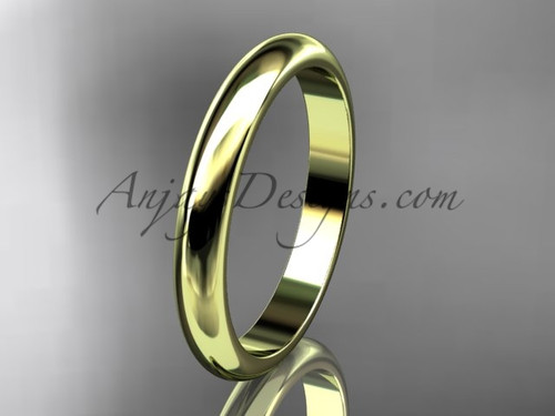 14k yellow gold traditional 3mm wide wedding band WB50103G