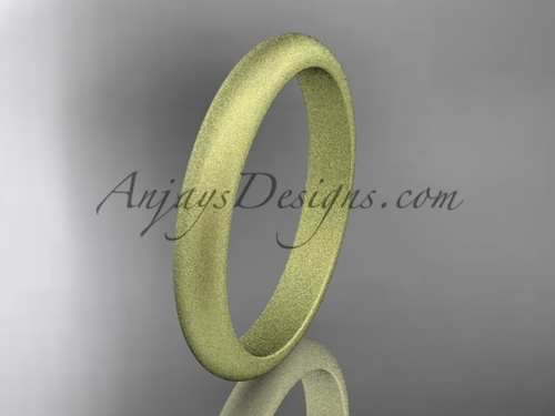 14k yellow matte finish gold traditional 3mm wide wedding band WB50103G