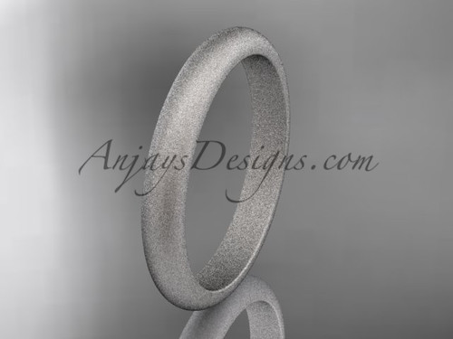 Platinum matte finish traditional 3mm wide wedding band WB50103G