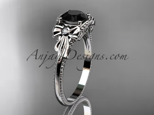 White Gold Black Diamond Bow Unique Engagement Ring ADLR376